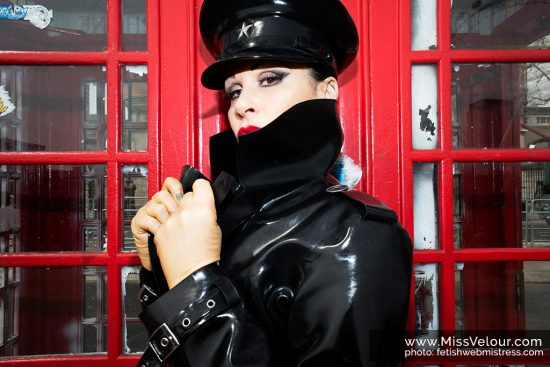 latex and rubber mistress Miss Velour in public London streets